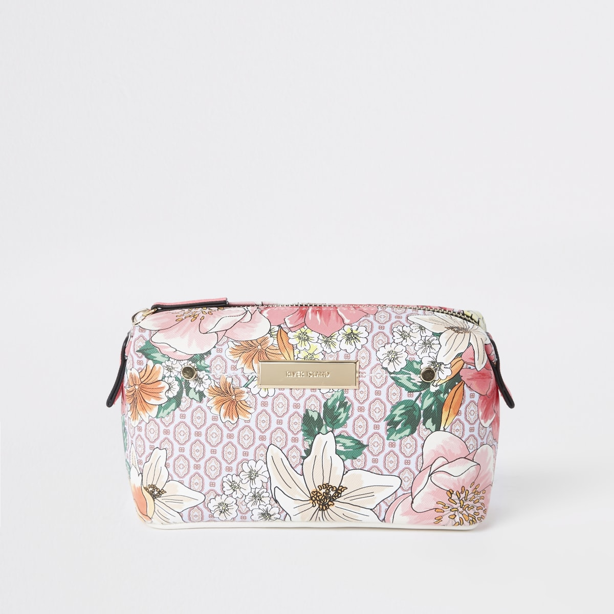 Pink floral zip top makeup bag