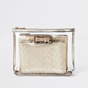 Beige perspex zip top makeup bag