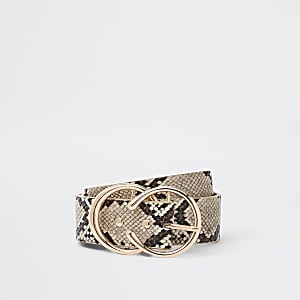 Beige snake print double circle jeans belt