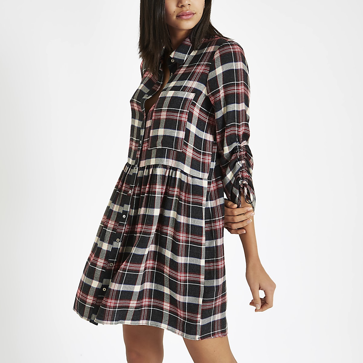 Red check ruched sleeve shirt dress
