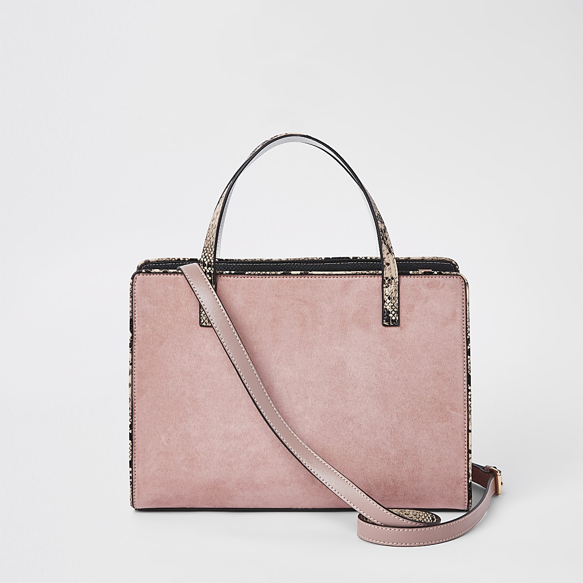 0d990f2e9 Light pink contrast snake panel tote bag - Shopper & Tote Bags ...