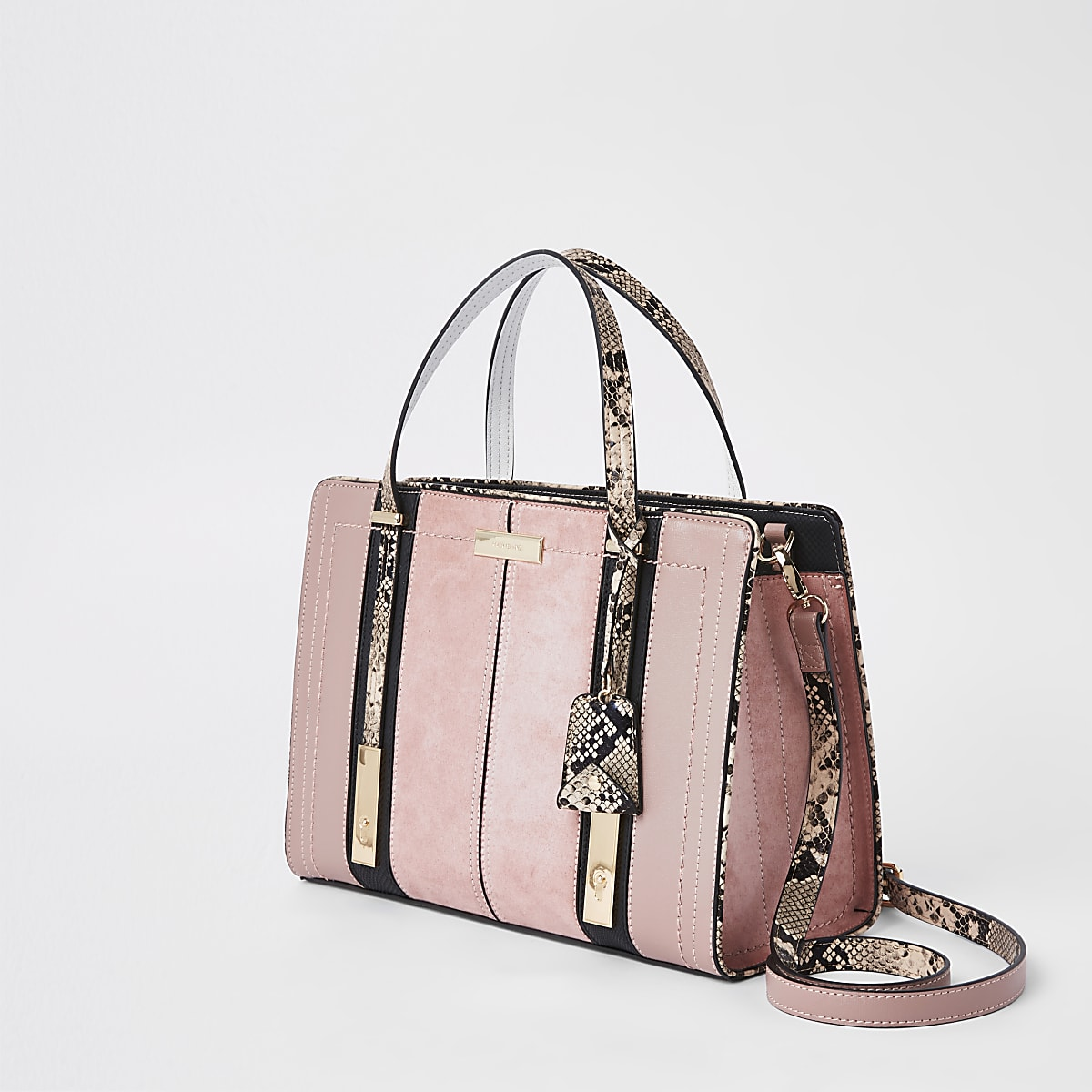 6a3d006522bbf Light pink contrast snake panel tote bag - Shopper & Tote Bags ...