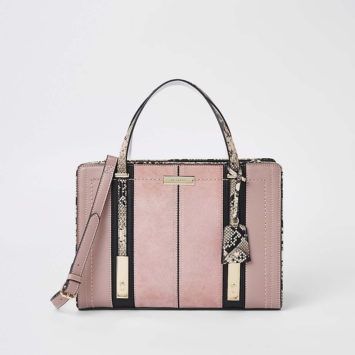 Light pink contrast snake panel tote bag
