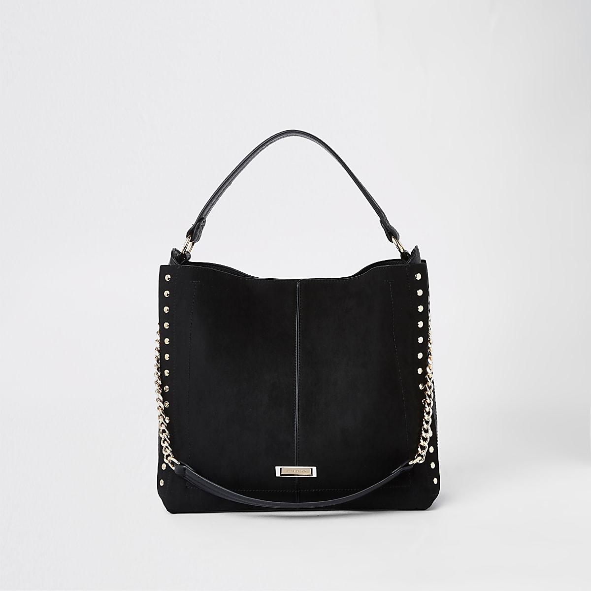 Black studded side slouch bag