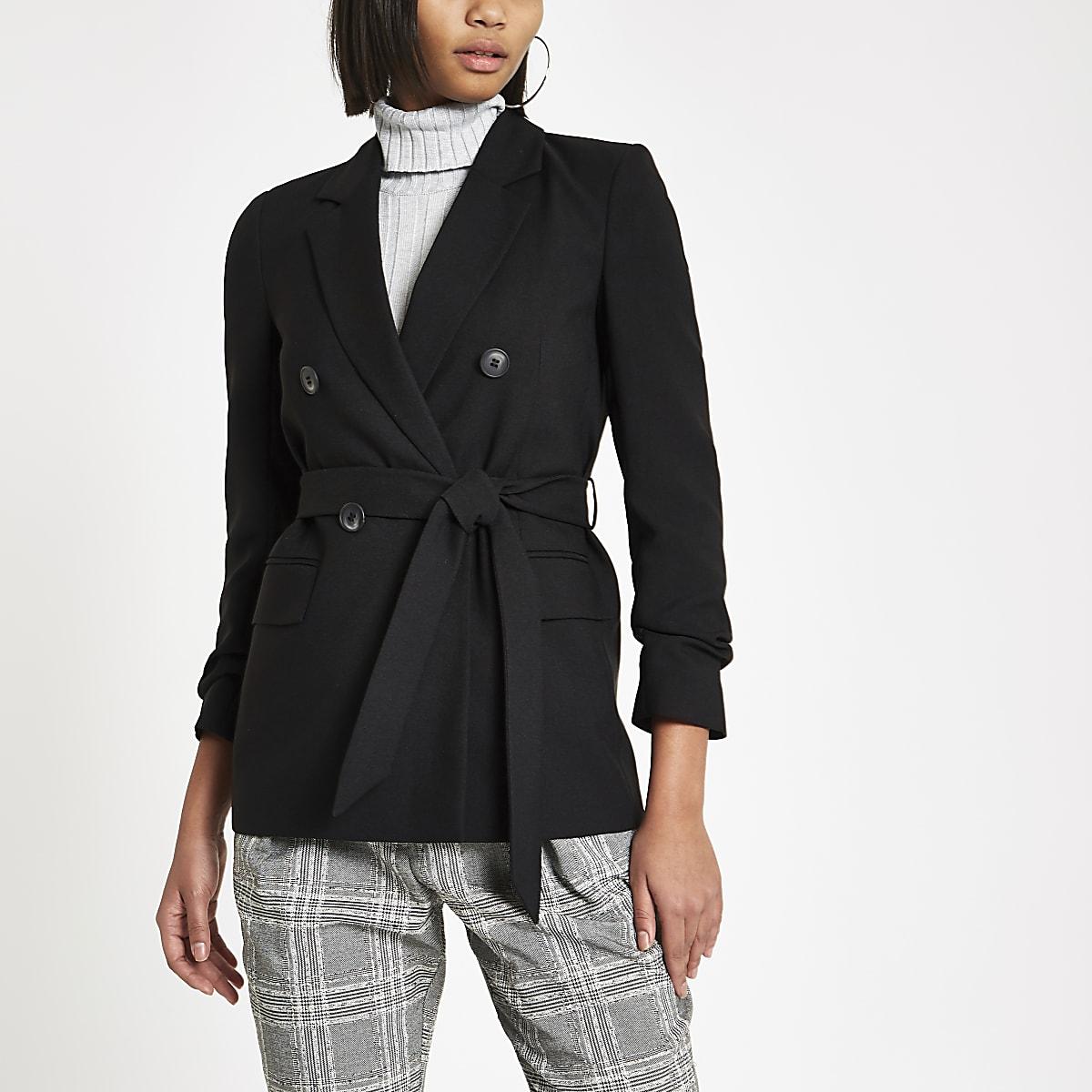 bbaa4b16b8a38 Black tie waist ruched sleeve blazer - Blazers - Coats   Jackets - women