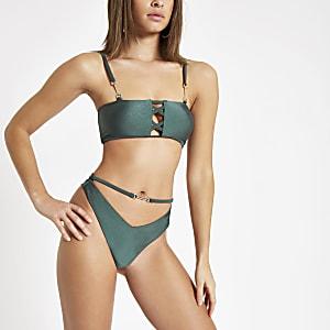 Bas de bikini échancré vert avec liens