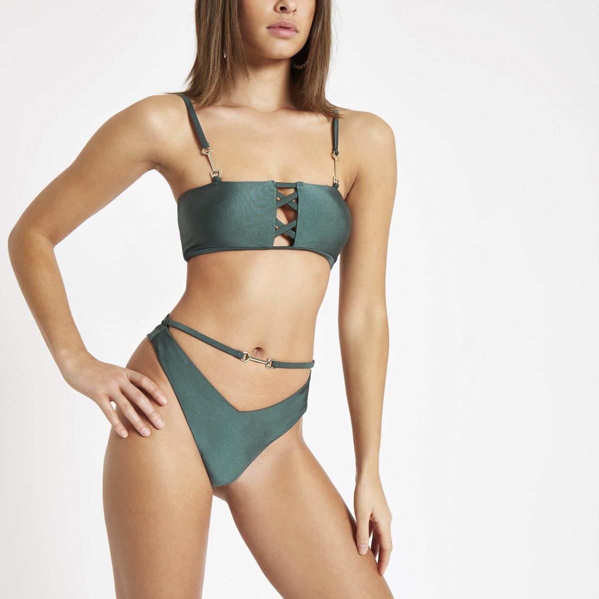 Green tie high leg bikini bottoms