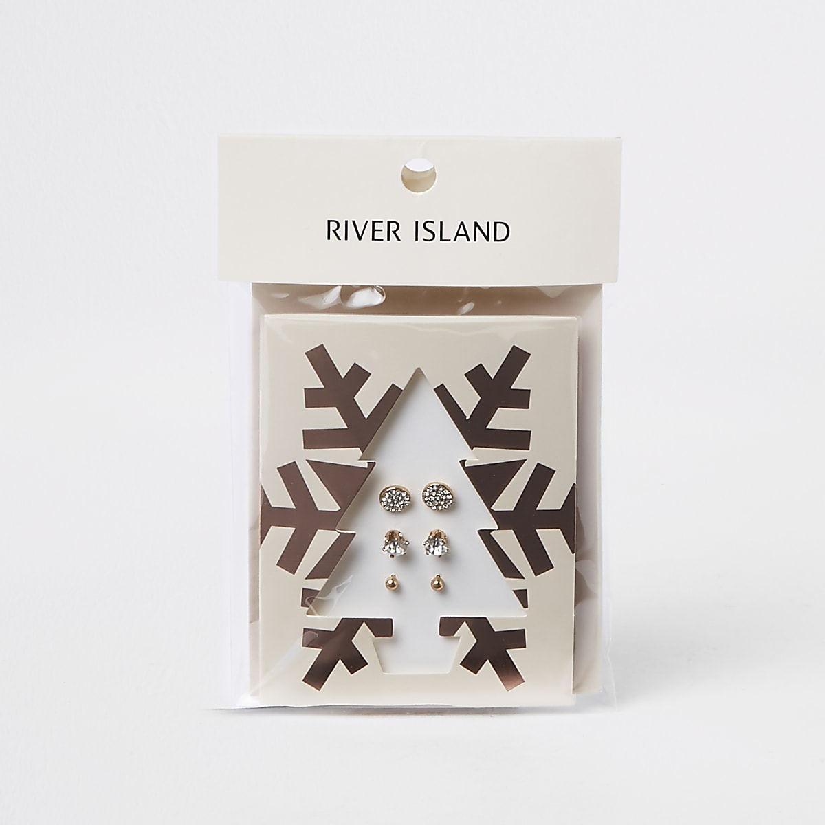 Gold color stud earring Christmas tree pack