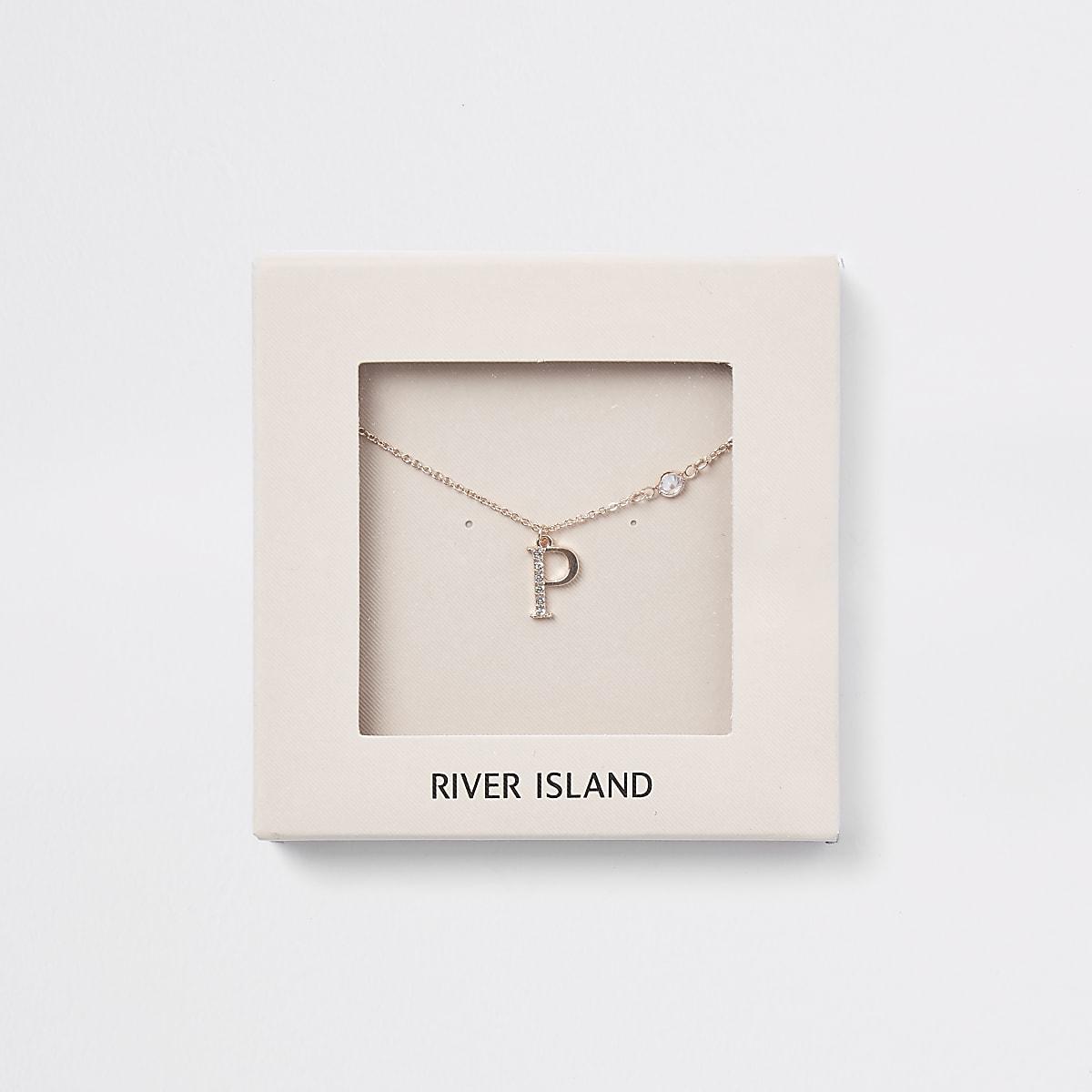 Rose gold colour 'P' initial necklace