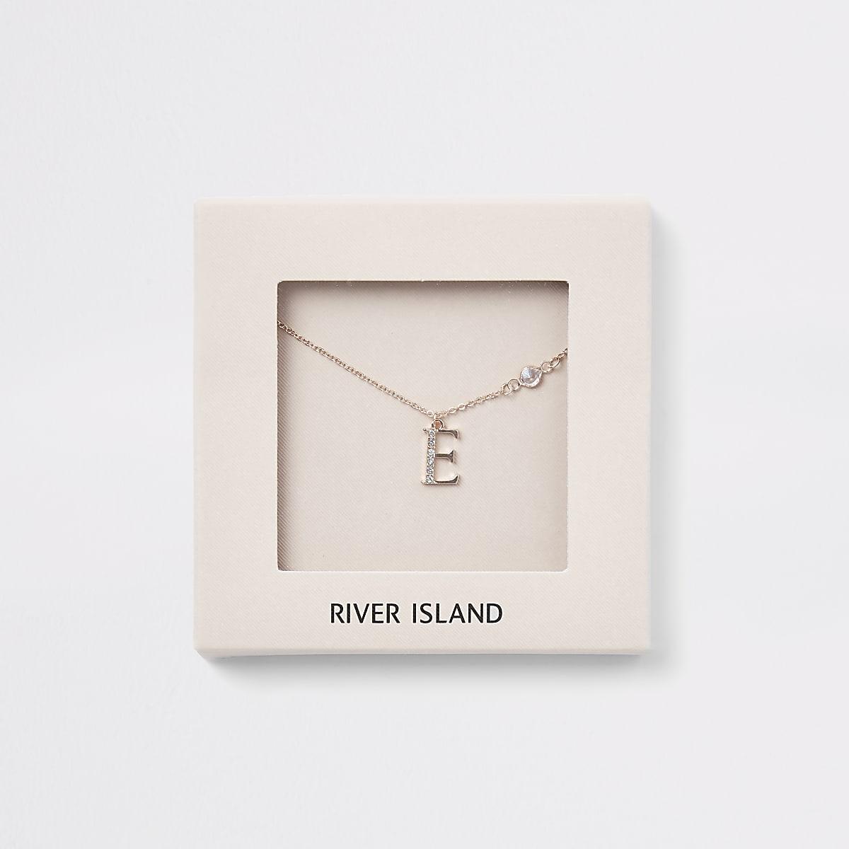 Rose gold colour 'E' initial necklace