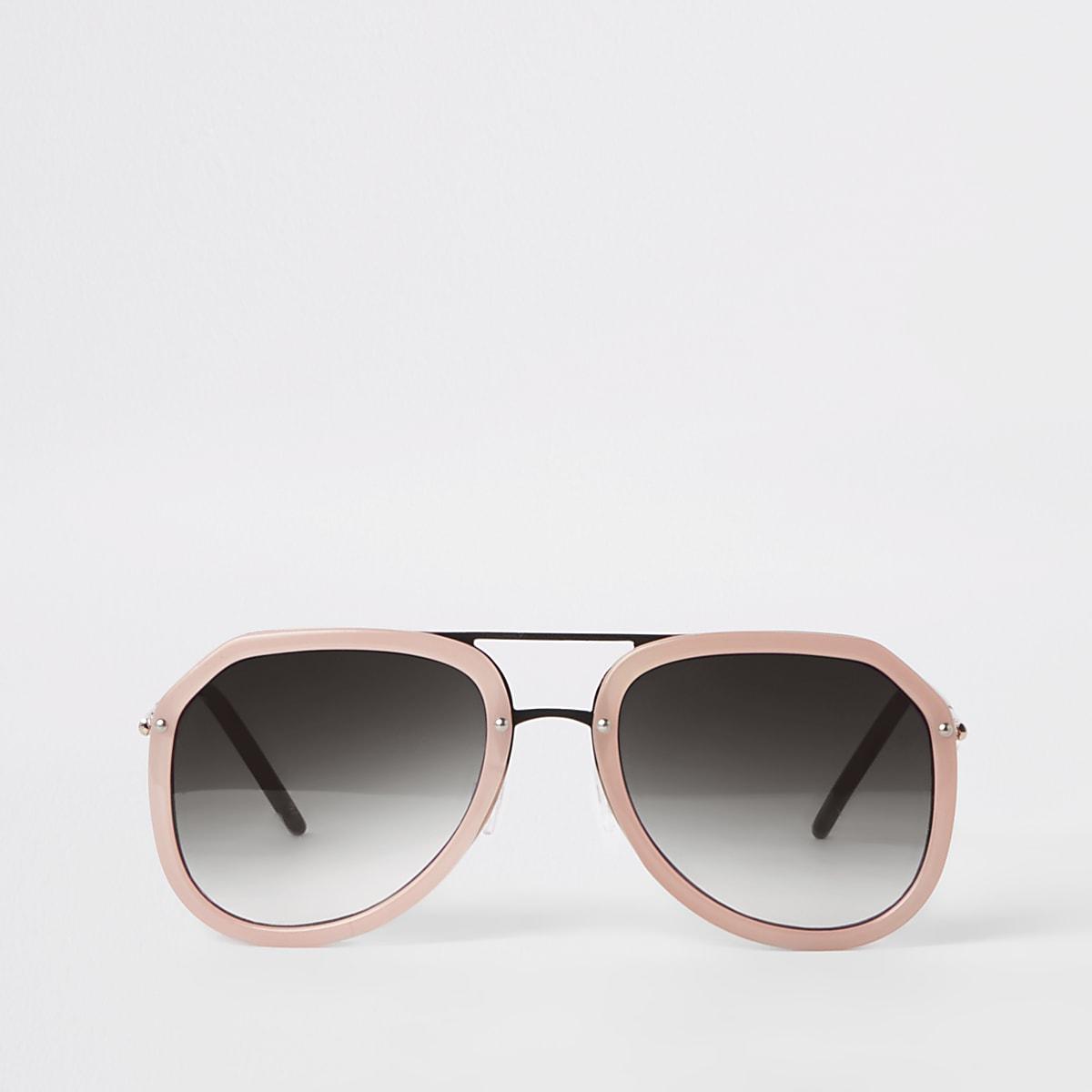 Roze pilotenzonnebril met grijze glazen