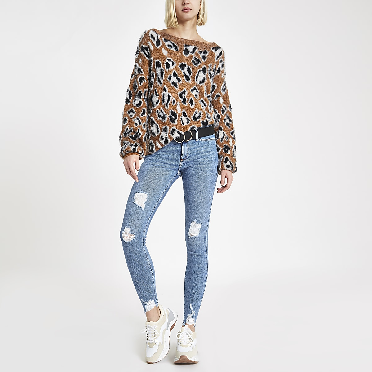 Mid blue ripped hem mid rise Molly jeggings