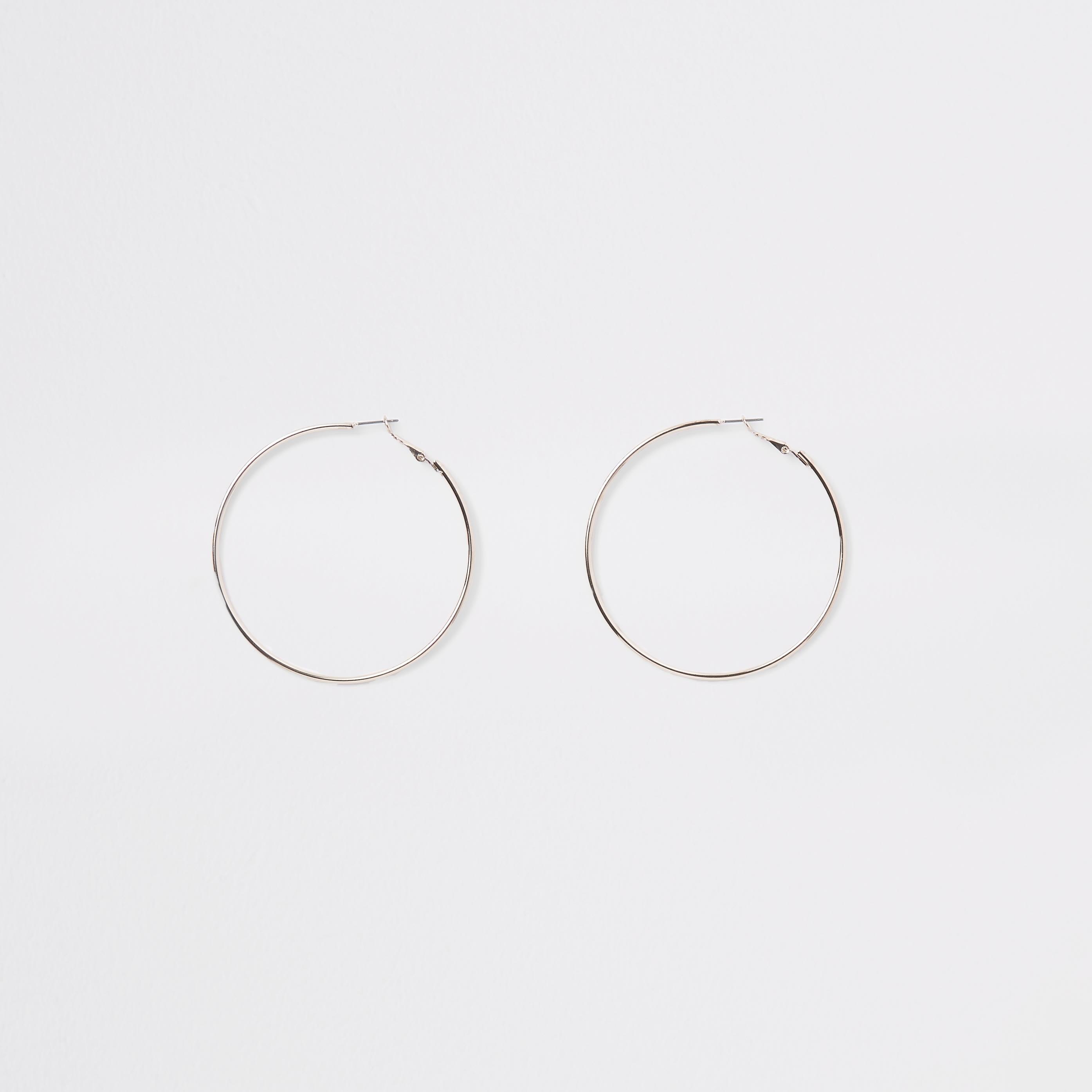 River Island - rose  colour hoop earrings - 1