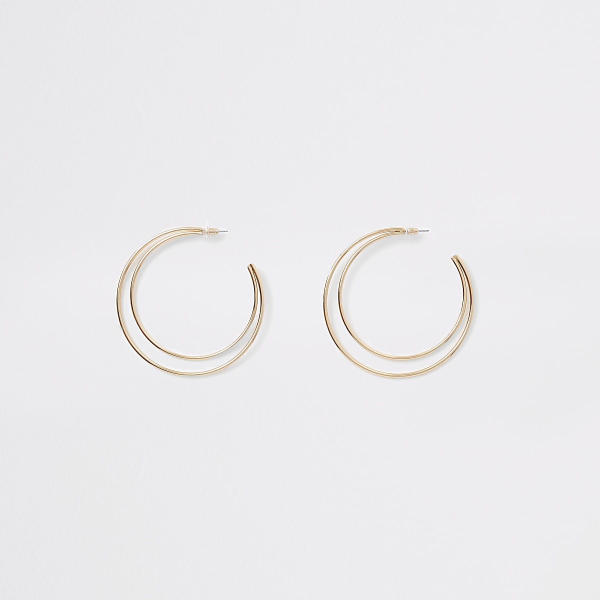 Gold tone double layered hoop earrings