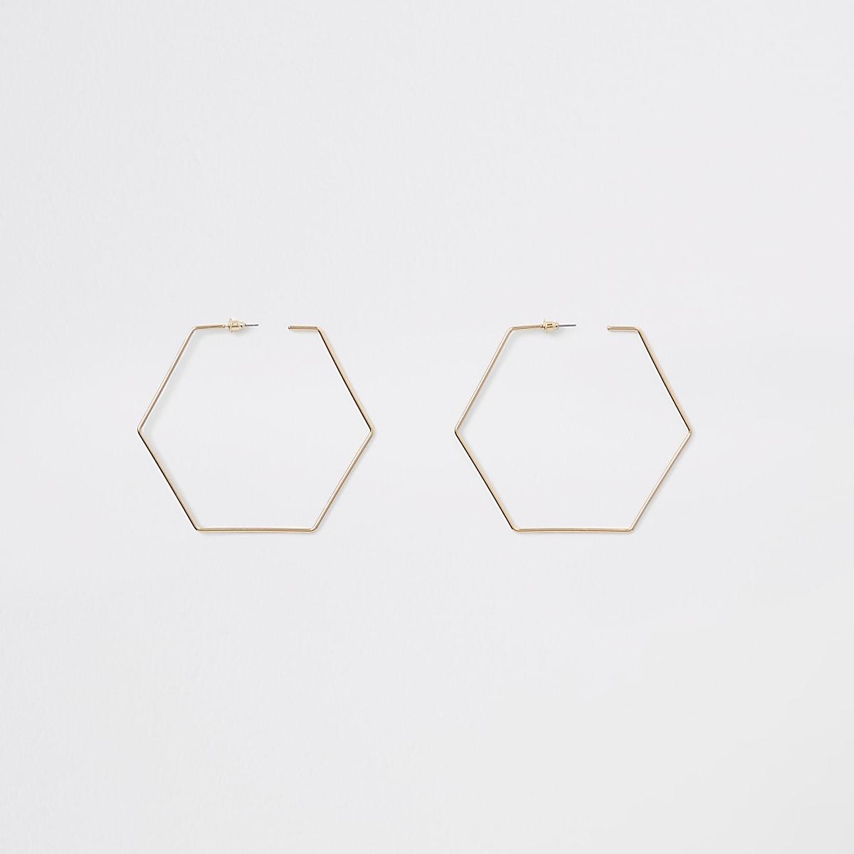Gold colour hexagon hoop earrings