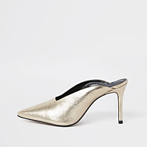 Gold leather pointed toe slim heel mules
