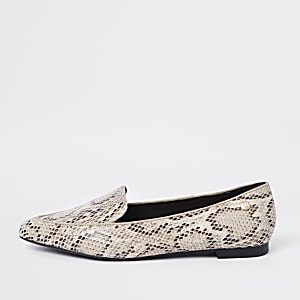 Beige snake print pointed toe wide fit loafer