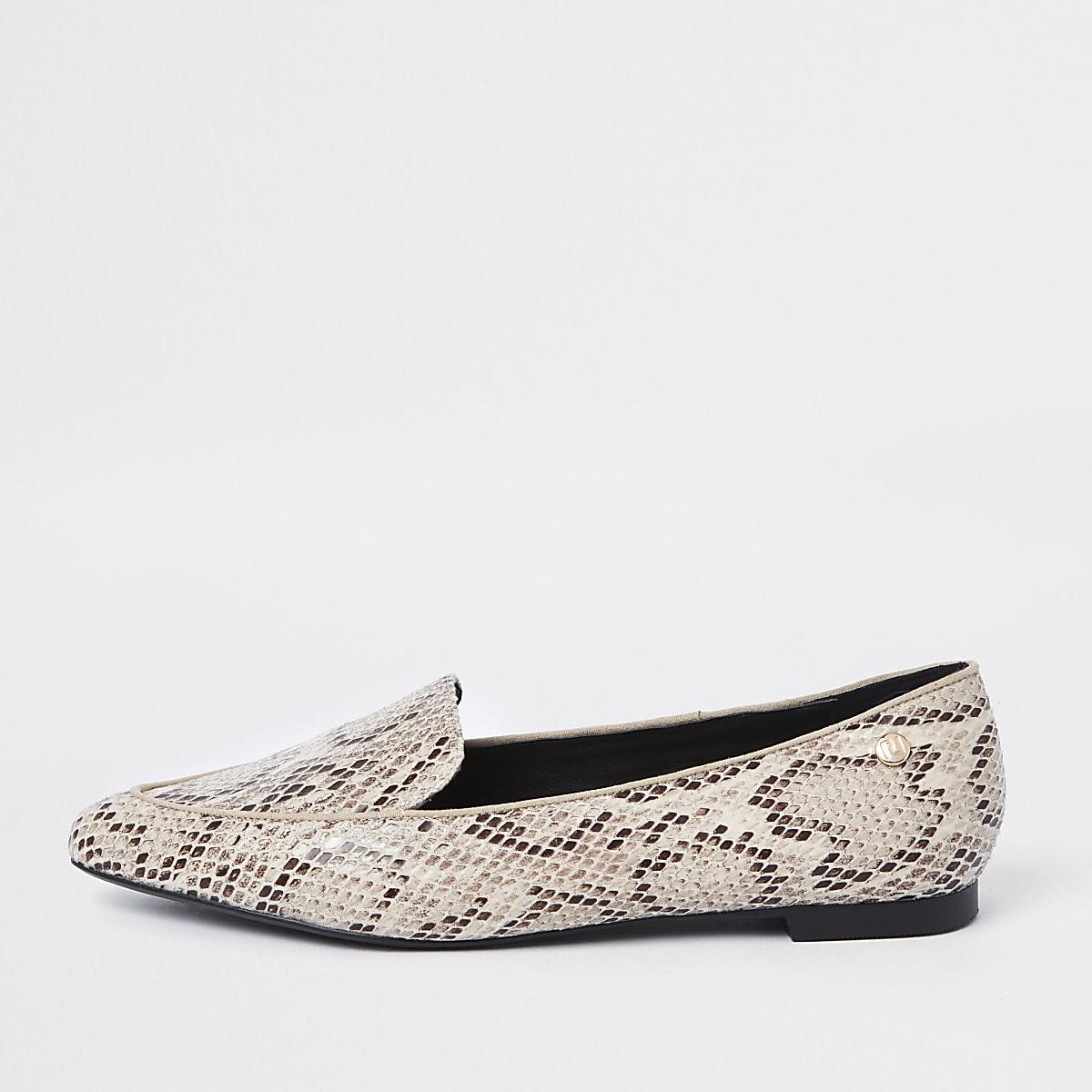 Loafer in Beige in Schlangenlederoptik