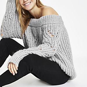 Light grey knit bardot sweater