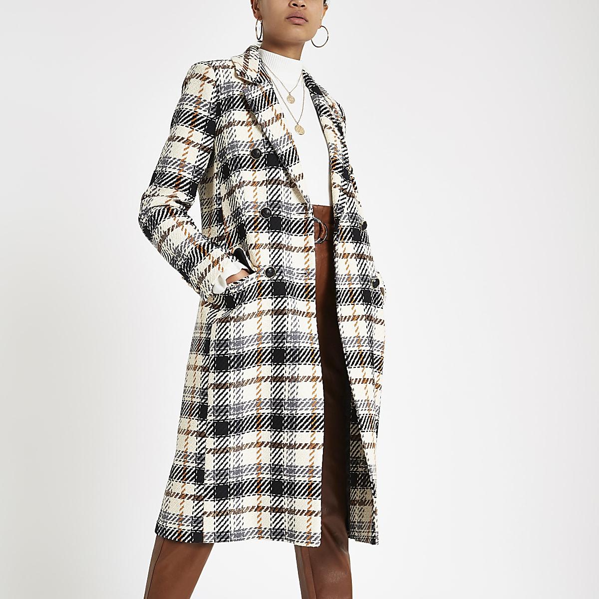 Cream check long sleeve wool coat