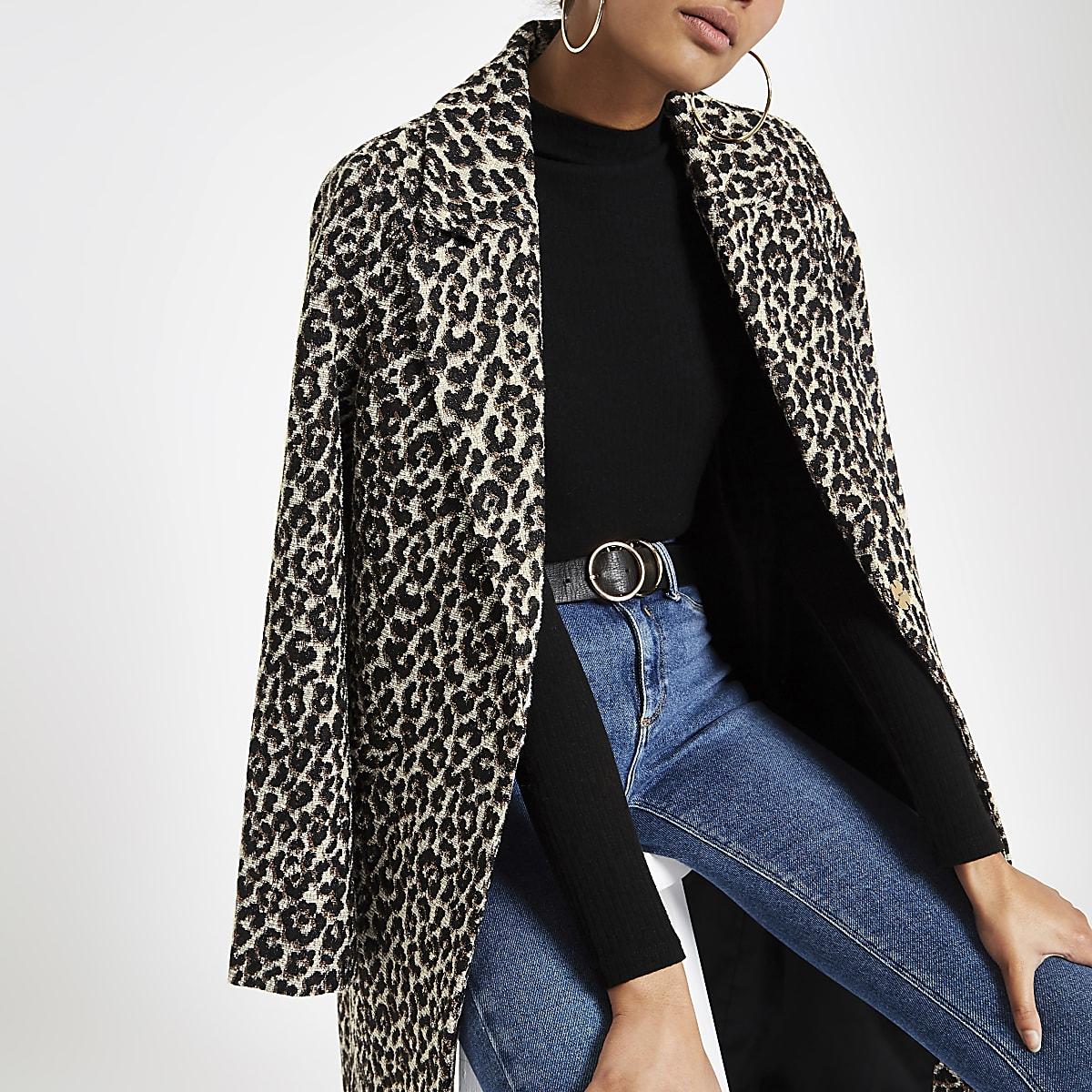 Leopard print jacquard jacket