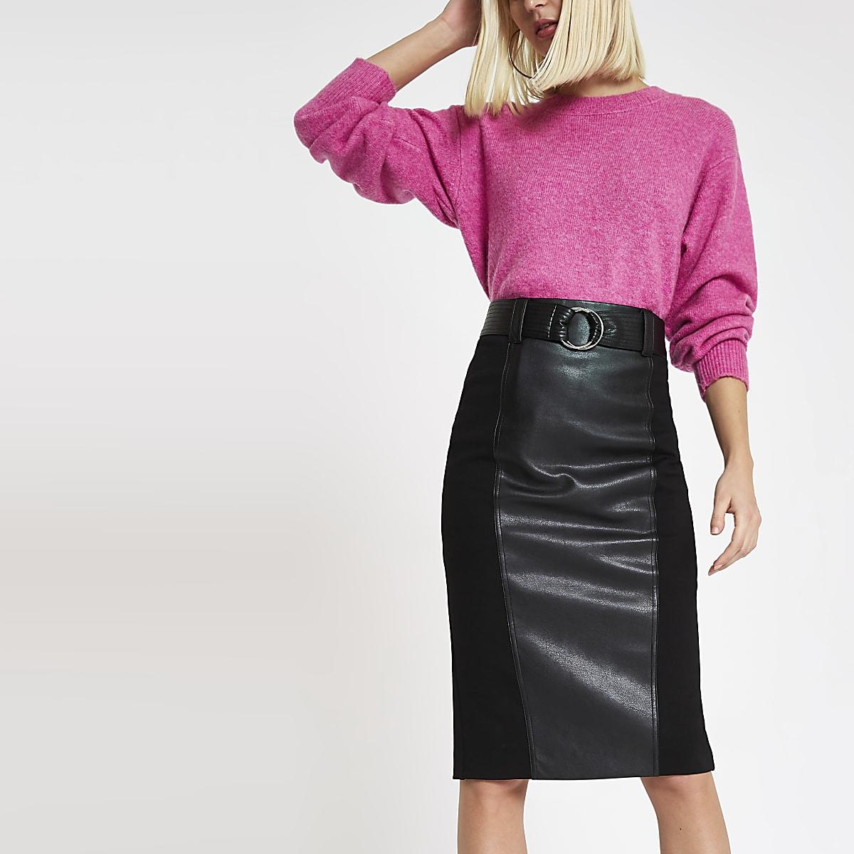 Black woven panel pencil skirt