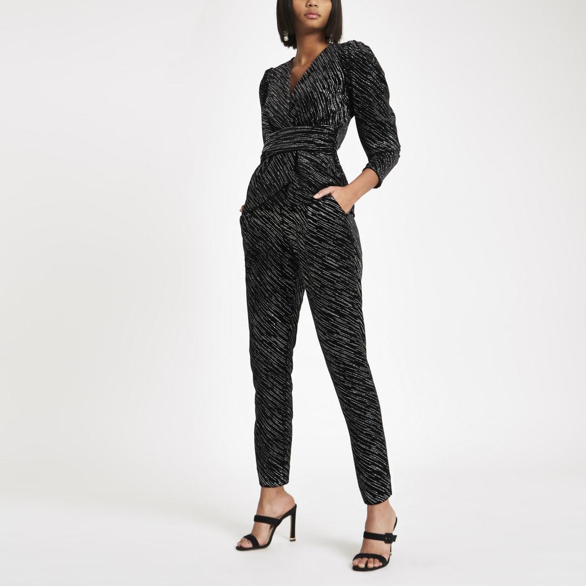 Black velvet glitter tie belted trousers
