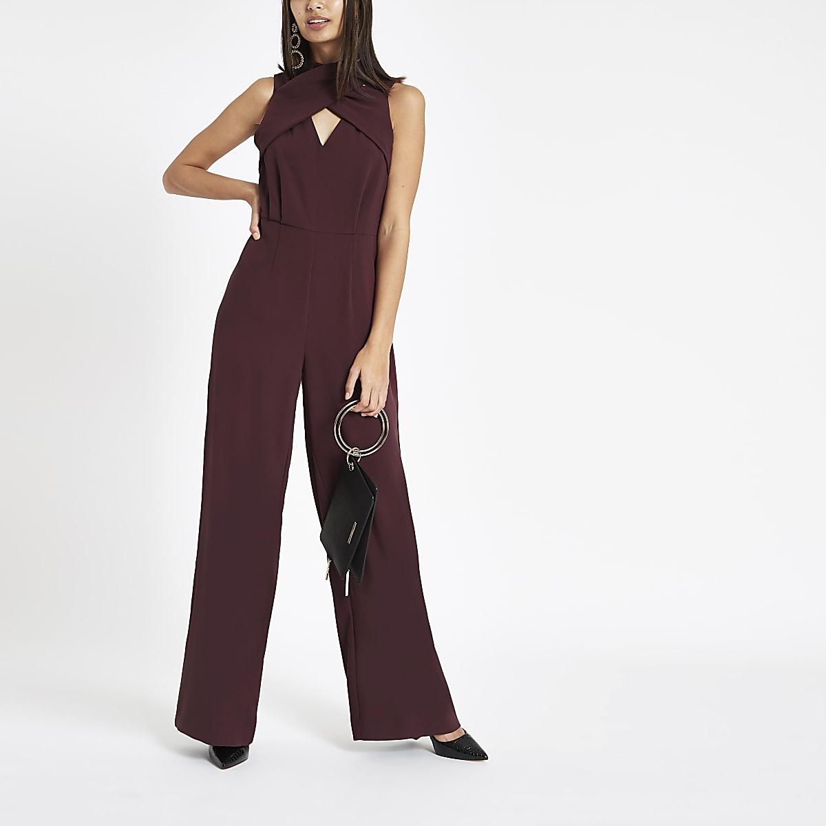 Burgundy wrap front high neck jumpsuit