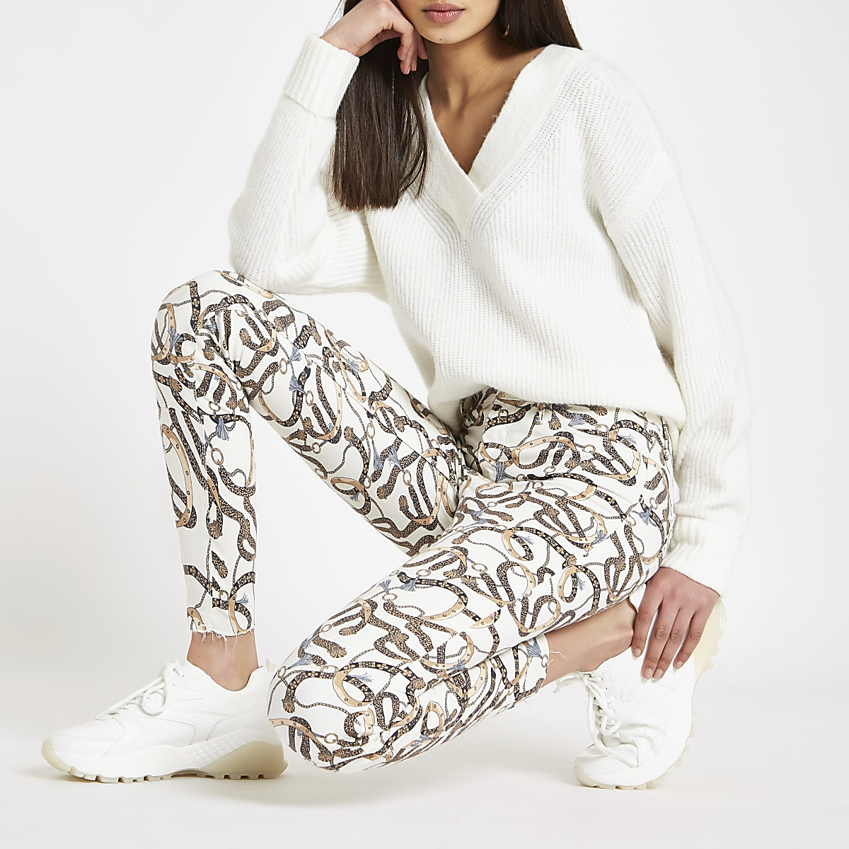 Molly - Crème jegging met kettingprint