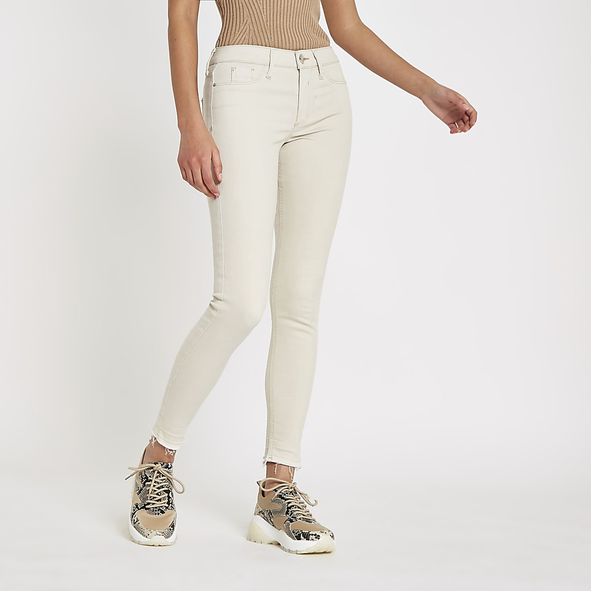 Cream Molly mid rise jeggings