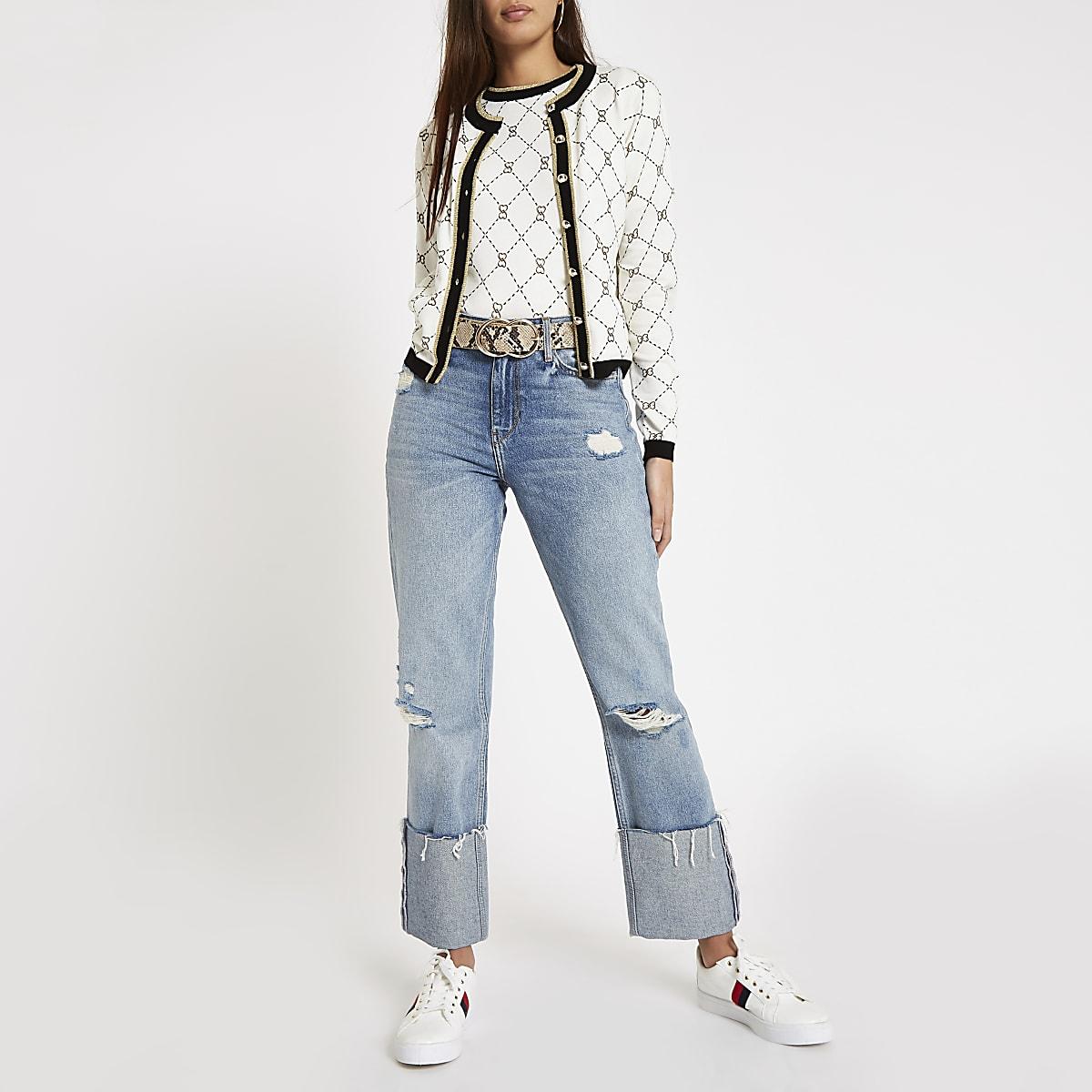 Lichtblauwe ripped RI boyfriend jeans