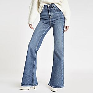 Middenblauwe denim wijduitlopende jeans met RI-logo