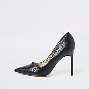 Black croc embossed wide fit court shoes