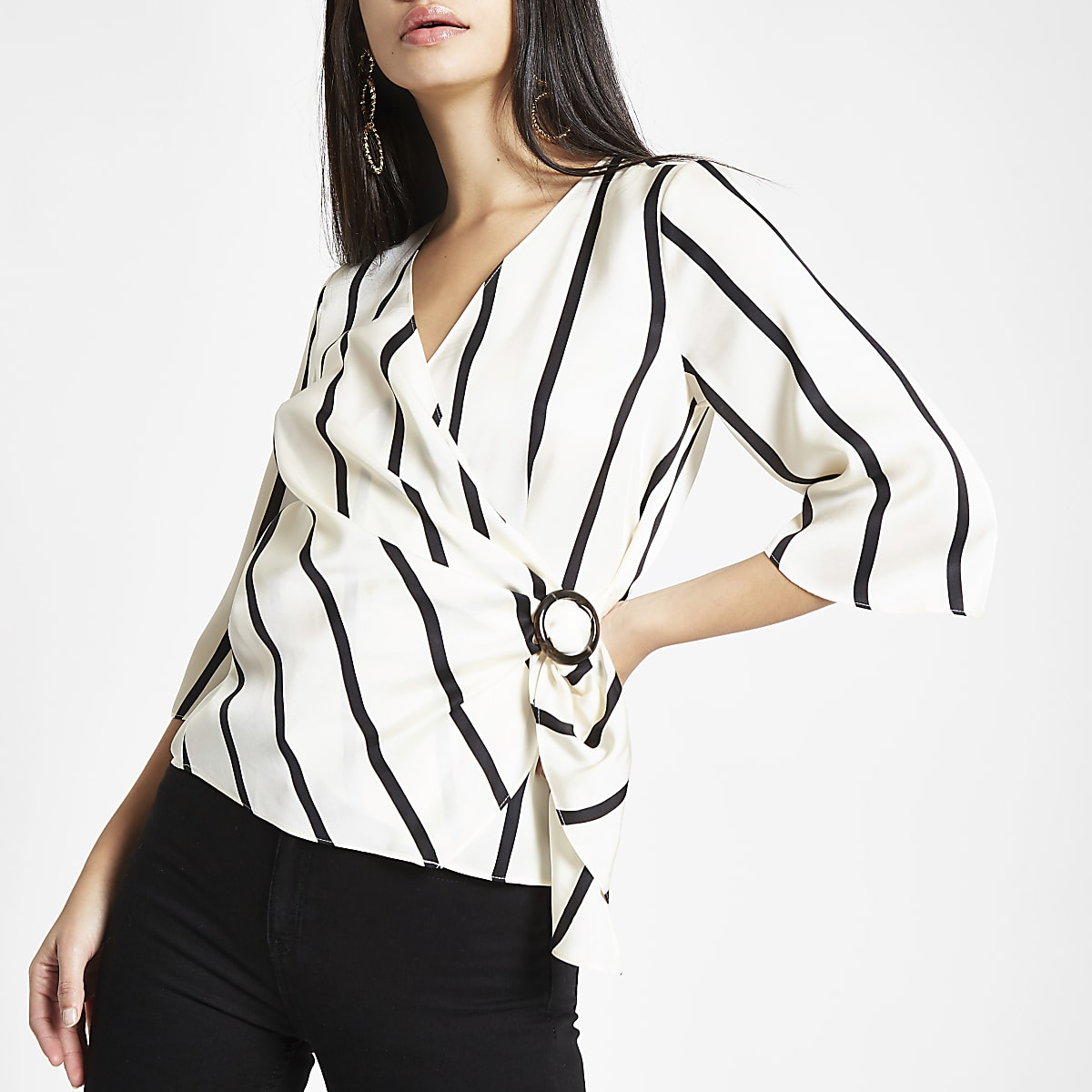 White stripe wrap front horn ring blouse