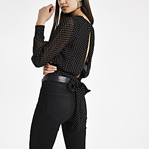 Black dot tie back top
