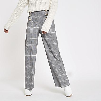 Petite grey check wide leg trousers