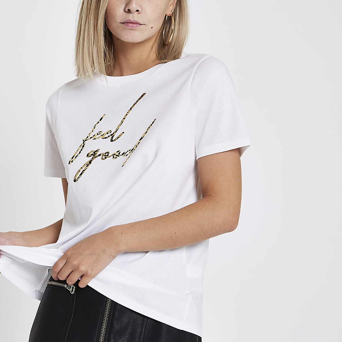 Petite white 'feel good' print T-shirt