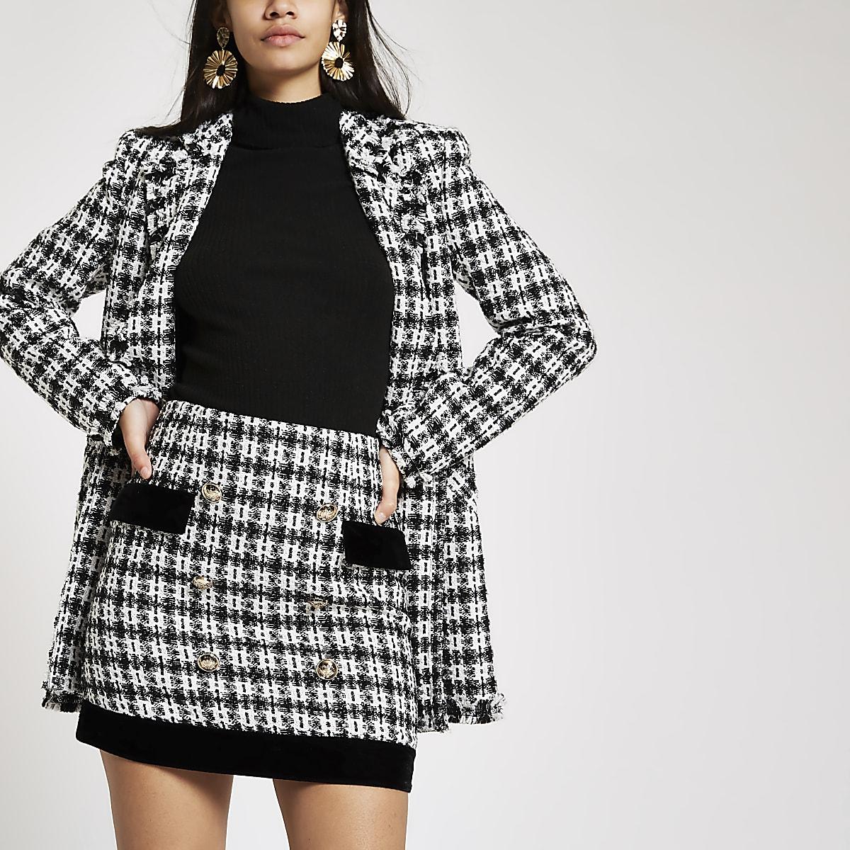 Black boucle velvet trim mini skirt