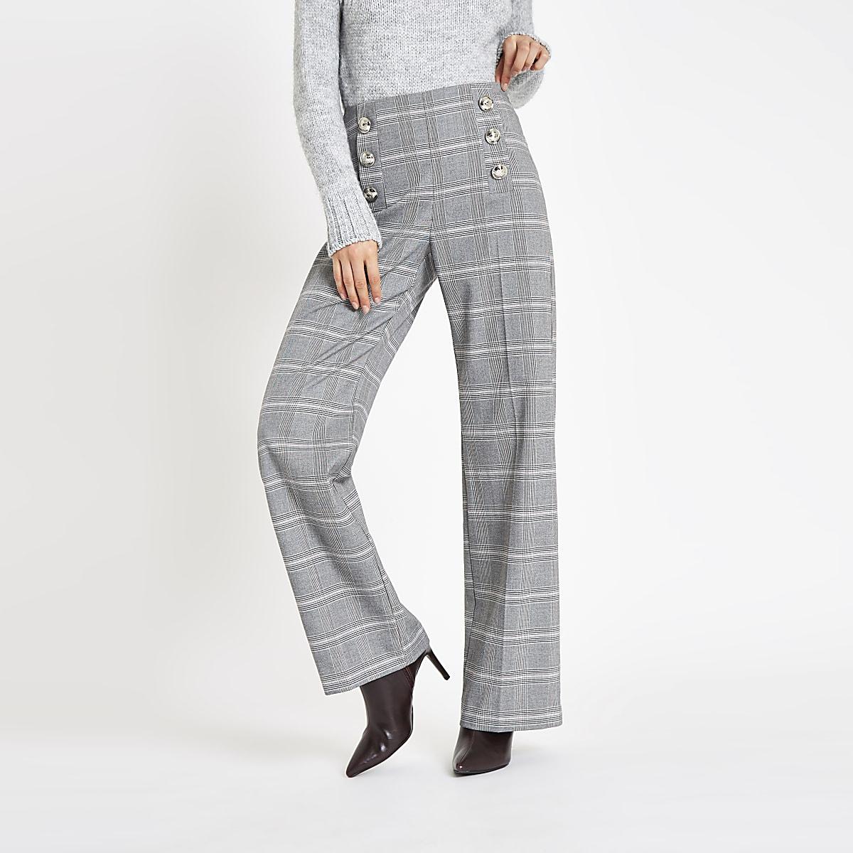 Grey check button wide leg trousers