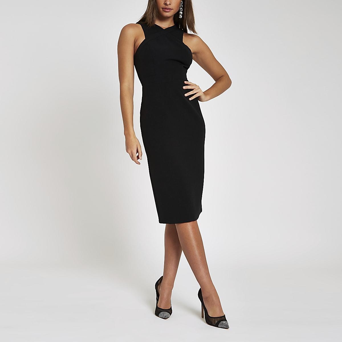 Black cross high neck bodycon midi dress