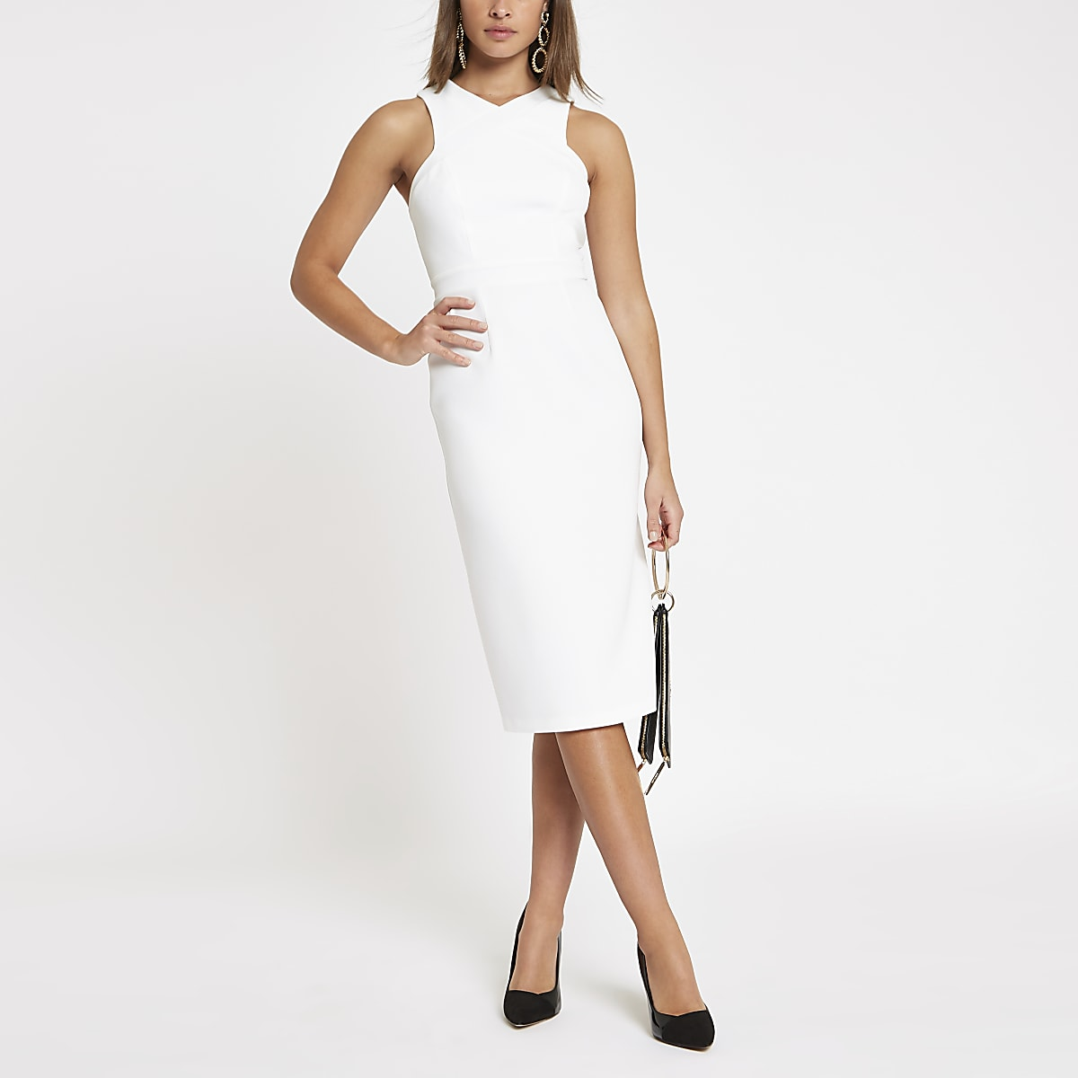 2c9c27df6a0 White cross high neck bodycon midi dress - Bodycon Dresses - Dresses ...