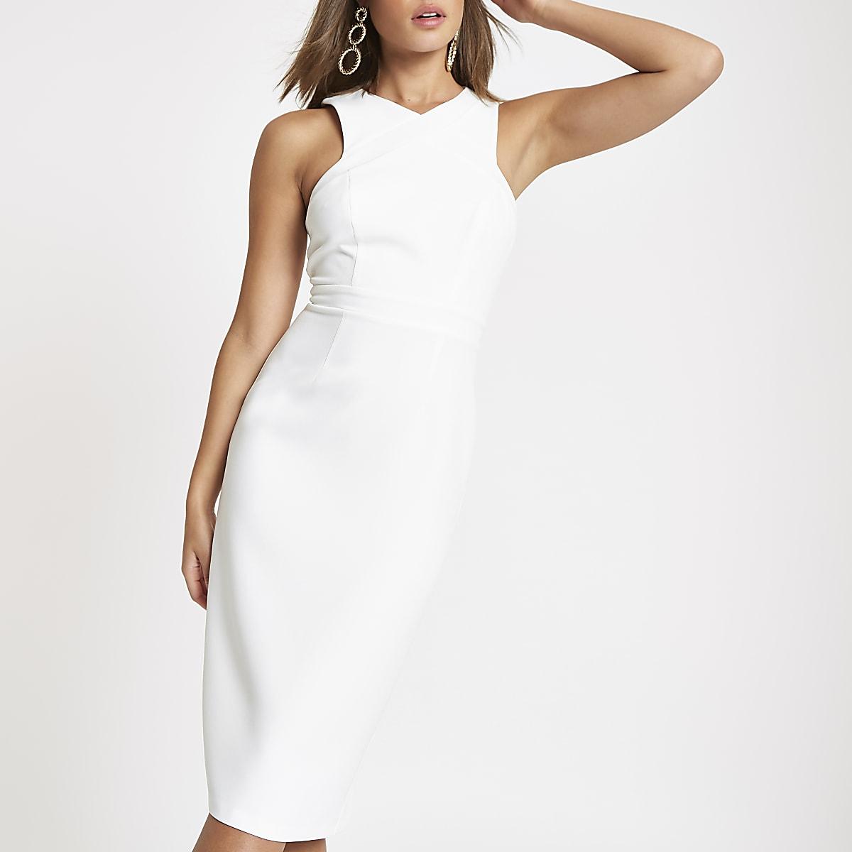 White cross high neck bodycon midi dress