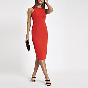 Red cross high neck bodycon midi dress