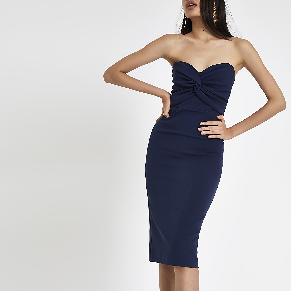 91a149bbb259 Navy twist front bandeau maxi bodycon dress - Bodycon Dresses - Dresses -  women
