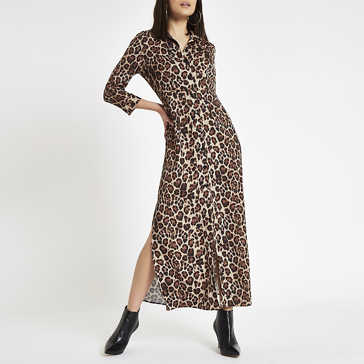 6994ec82f9 Brown leopard print maxi shirt dress - Maxi Dresses - Dresses - women