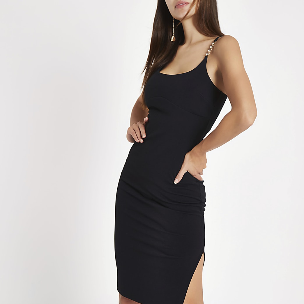 Black ribbed diamante trim bodycon dress