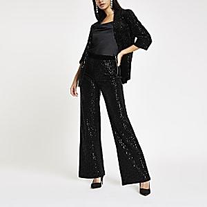 Black velvet sequin wide leg trousers