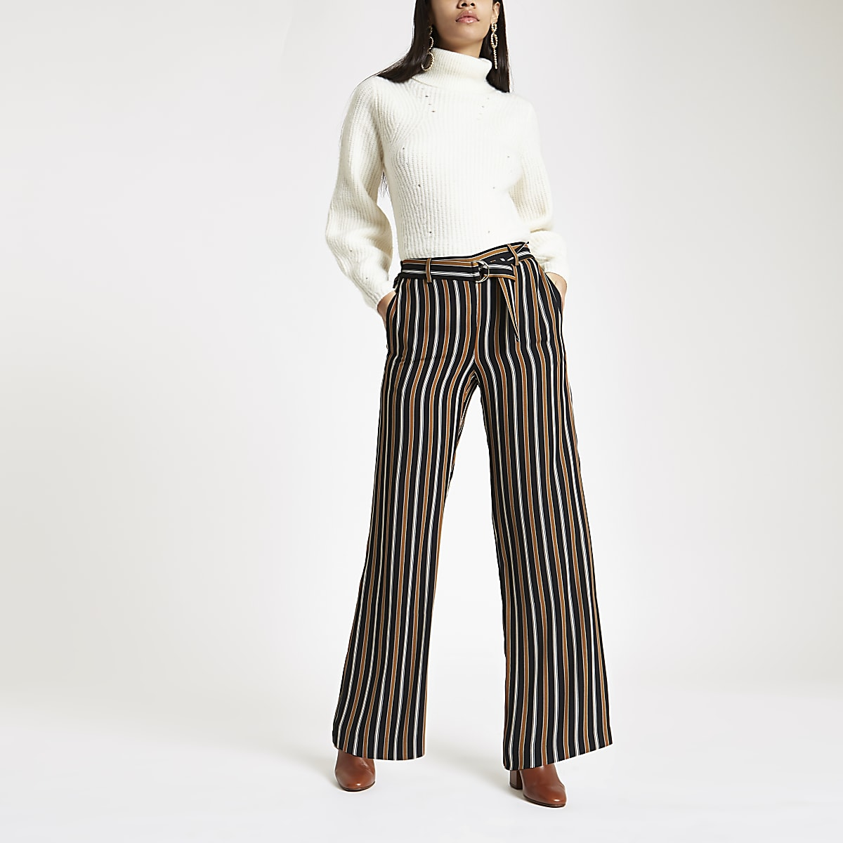 Navy stripe wide leg belted pants