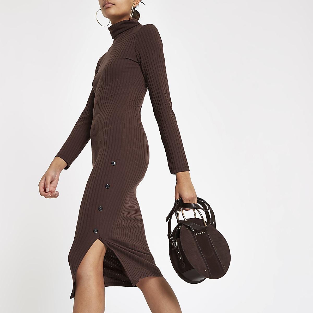 Brown roll neck bodycon midi dress