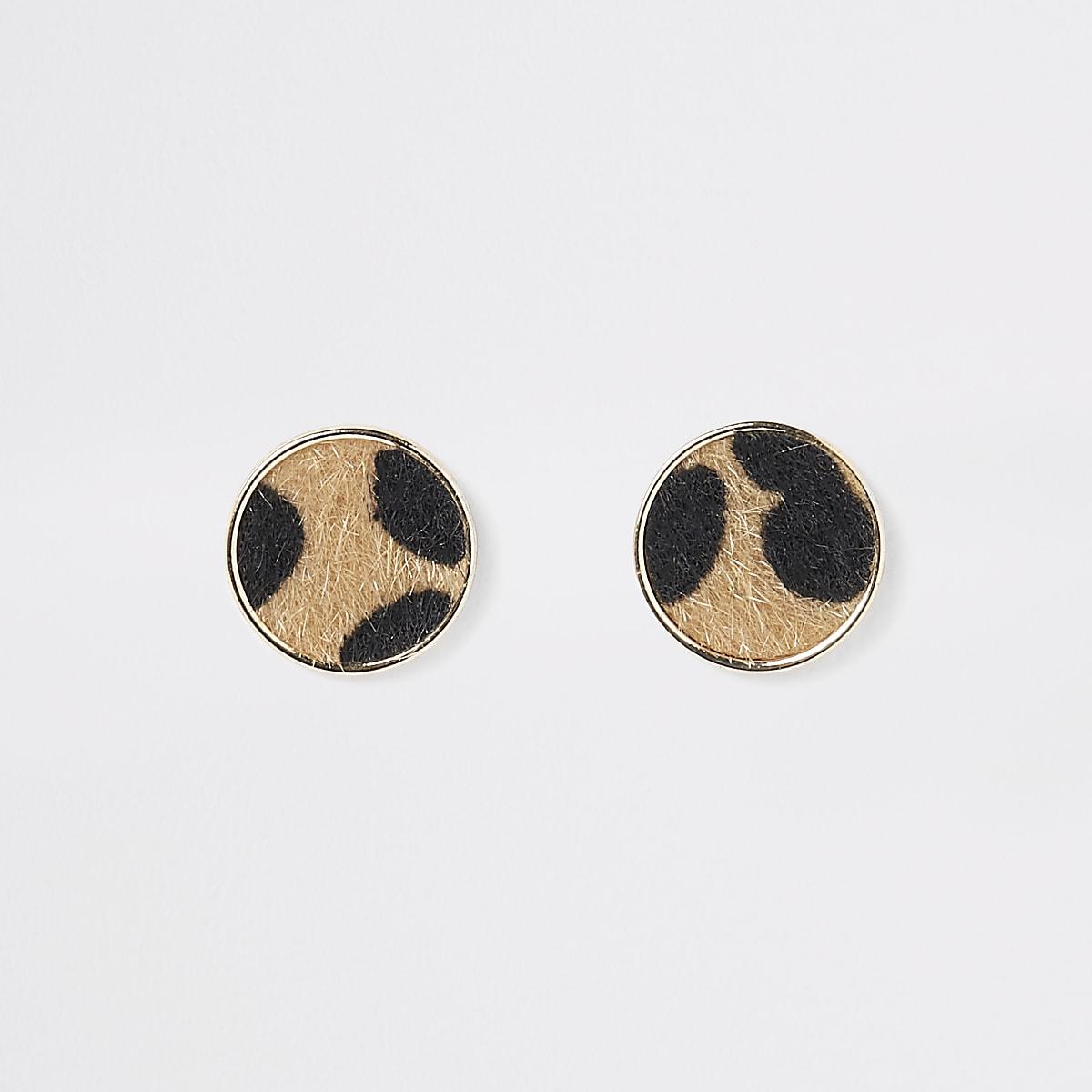 Leopard print round stud earrings